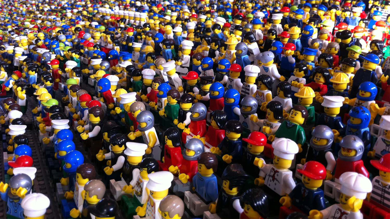 Lego figures nervously waiting to see who will join their ranks.